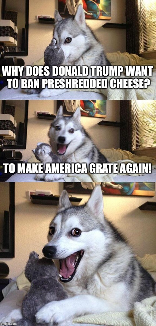 Sorry if this has been made before! I came up with it in my head but I'm not 100% sure this cheesy (ha) joke hasn't been made! | WHY DOES DONALD TRUMP WANT TO BAN PRESHREDDED CHEESE? TO MAKE AMERICA GRATE AGAIN! | image tagged in memes,bad pun dog | made w/ Imgflip meme maker