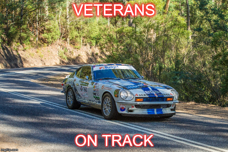 VETERANS ON TRACK | image tagged in motorsport | made w/ Imgflip meme maker