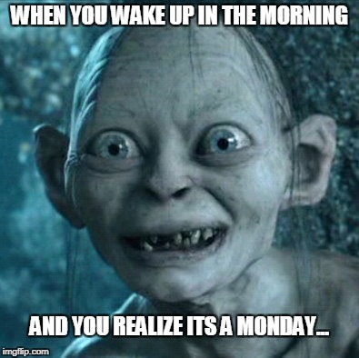 Gollum Meme | WHEN YOU WAKE UP IN THE MORNING AND YOU REALIZE ITS A MONDAY... | image tagged in memes,gollum | made w/ Imgflip meme maker