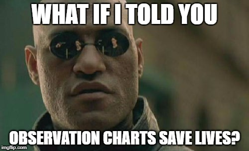 Matrix Morpheus Meme | WHAT IF I TOLD YOU OBSERVATION CHARTS SAVE LIVES? | image tagged in memes,matrix morpheus | made w/ Imgflip meme maker