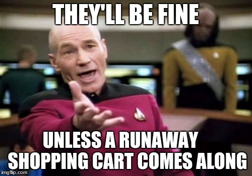 Picard Wtf Meme | THEY'LL BE FINE UNLESS A RUNAWAY    SHOPPING CART COMES ALONG | image tagged in memes,picard wtf | made w/ Imgflip meme maker