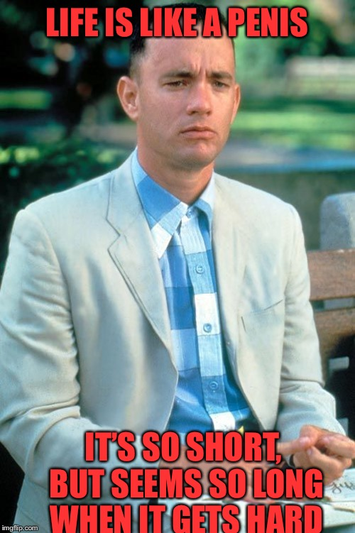 Forest gimps life lesson | LIFE IS LIKE A P**IS IT'S SO SHORT, BUT SEEMS SO LONG WHEN IT GETS HARD | image tagged in forest gump,life,penis,hard,short | made w/ Imgflip meme maker