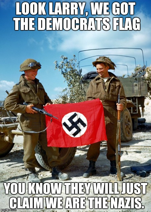 LOOK LARRY, WE GOT THE DEMOCRATS FLAG YOU KNOW THEY WILL JUST CLAIM WE ARE THE NAZIS. | image tagged in the alt-left | made w/ Imgflip meme maker
