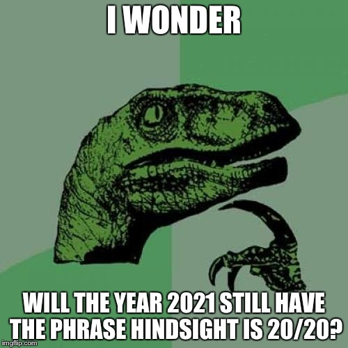 Philosoraptor Meme | I WONDER WILL THE YEAR 2021 STILL HAVE THE PHRASE HINDSIGHT IS 20/20? | image tagged in memes,philosoraptor | made w/ Imgflip meme maker