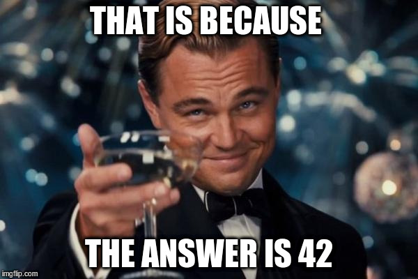 Leonardo Dicaprio Cheers Meme | THAT IS BECAUSE THE ANSWER IS 42 | image tagged in memes,leonardo dicaprio cheers | made w/ Imgflip meme maker