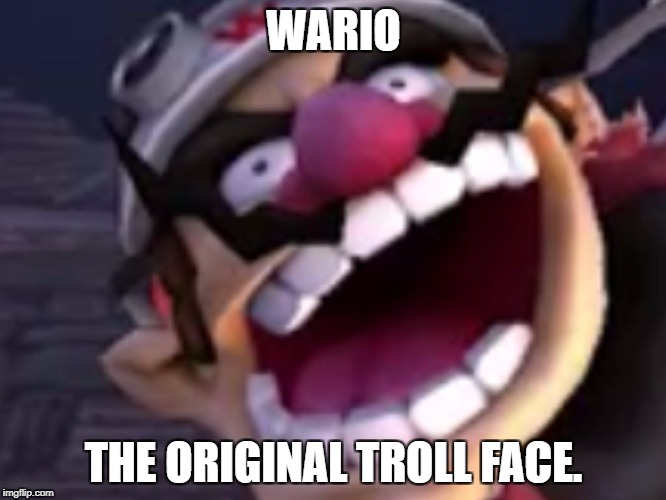 Trololololol | WARIO THE ORIGINAL TROLL FACE. | image tagged in wario | made w/ Imgflip meme maker