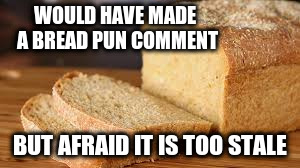 WOULD HAVE MADE A BREAD PUN COMMENT BUT AFRAID IT IS TOO STALE | made w/ Imgflip meme maker