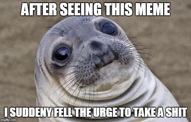 Awkward Moment Sealion Meme | AFTER SEEING THIS MEME I SUDDENY FELL THE URGE TO TAKE A SHIT | image tagged in memes,awkward moment sealion | made w/ Imgflip meme maker