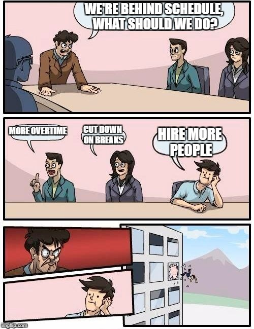 Boardroom Meeting Suggestion Meme | WE'RE BEHIND SCHEDULE, WHAT SHOULD WE DO? MORE OVERTIME CUT DOWN ON BREAKS HIRE MORE PEOPLE | image tagged in memes,boardroom meeting suggestion | made w/ Imgflip meme maker