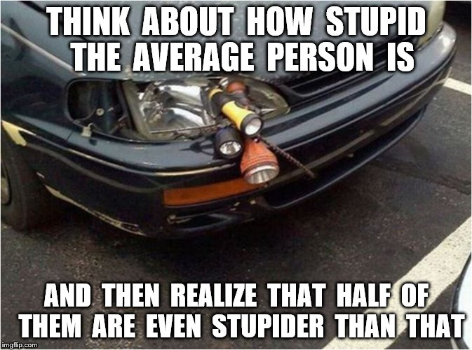 Stupidity | THINK  ABOUT  HOW  STUPID  THE  AVERAGE  PERSON  IS AND  THEN  REALIZE  THAT  HALF  OF  THEM  ARE  EVEN  STUPIDER  THAN  THAT | image tagged in memes,stupidity,funny | made w/ Imgflip meme maker
