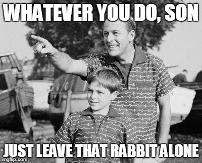 WHATEVER YOU DO, SON JUST LEAVE THAT RABBIT ALONE | made w/ Imgflip meme maker