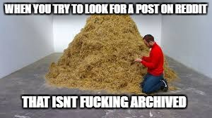 WHEN YOU TRY TO LOOK FOR A POST ON REDDIT THAT ISNT F**KING ARCHIVED | image tagged in haystack,archived,reddit | made w/ Imgflip meme maker