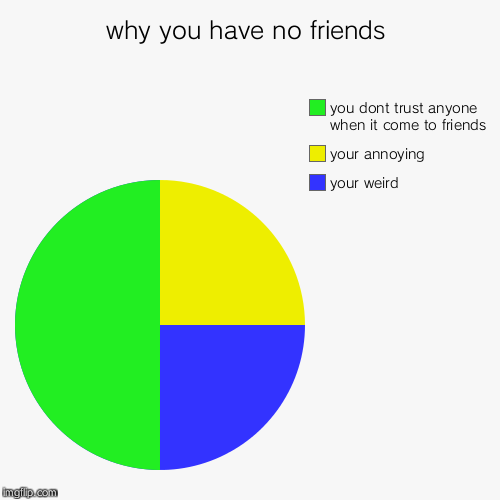 why you have no friends | your weird , your annoying, you dont trust anyone when it come to friends | image tagged in funny,pie charts | made w/ Imgflip pie chart maker