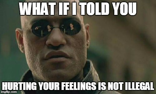 not even immoral | WHAT IF I TOLD YOU HURTING YOUR FEELINGS IS NOT ILLEGAL | image tagged in memes,matrix morpheus | made w/ Imgflip meme maker