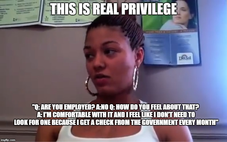 "How actual privilege works in the US | THIS IS REAL PRIVILEGE ""Q: ARE YOU EMPLOYED?A:NOQ: HOW DO YOU FEEL ABOUT THAT? A: I'M COMFORTABLE WITH IT AND I FEEL LIKE I DON'T NEED TO  