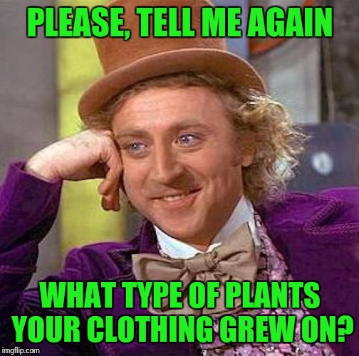 Creepy Condescending Wonka Meme | PLEASE, TELL ME AGAIN WHAT TYPE OF PLANTS YOUR CLOTHING GREW ON? | image tagged in memes,creepy condescending wonka | made w/ Imgflip meme maker
