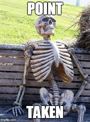 Waiting Skeleton Meme | POINT TAKEN | image tagged in memes,waiting skeleton | made w/ Imgflip meme maker