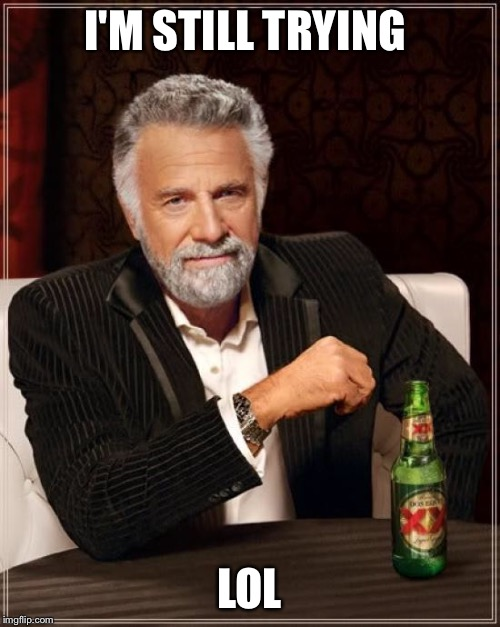 The Most Interesting Man In The World Meme | I'M STILL TRYING LOL | image tagged in memes,the most interesting man in the world | made w/ Imgflip meme maker
