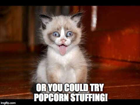 goofy kitten | OR YOU COULD TRY POPCORN STUFFING! | image tagged in goofy kitten | made w/ Imgflip meme maker