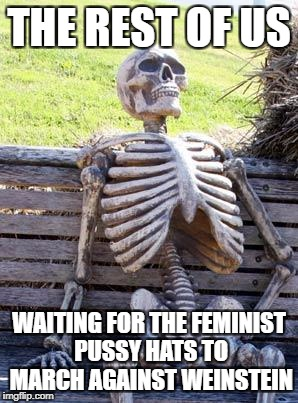 Don't worry boys, this skeleton is better looking than those stupid hats anway. | THE REST OF US WAITING FOR THE FEMINIST PUSSY HATS TO MARCH AGAINST WEINSTEIN | image tagged in memes,waiting skeleton | made w/ Imgflip meme maker