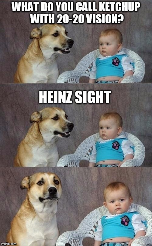 You all need to ketchup with this humor.  | WHAT DO YOU CALL KETCHUP WITH 20-20 VISION? HEINZ SIGHT | image tagged in dad joke dog 2,meme,memes,funny,dad joke | made w/ Imgflip meme maker