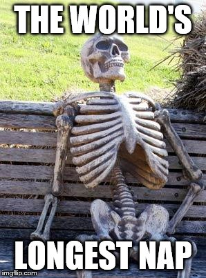 Waiting Skeleton Meme | THE WORLD'S LONGEST NAP | image tagged in memes,waiting skeleton | made w/ Imgflip meme maker
