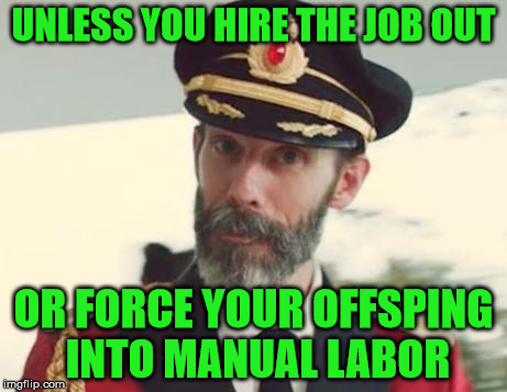 UNLESS YOU HIRE THE JOB OUT OR FORCE YOUR OFFSPING INTO MANUAL LABOR | made w/ Imgflip meme maker