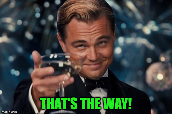 Leonardo Dicaprio Cheers Meme | THAT'S THE WAY! | image tagged in memes,leonardo dicaprio cheers | made w/ Imgflip meme maker