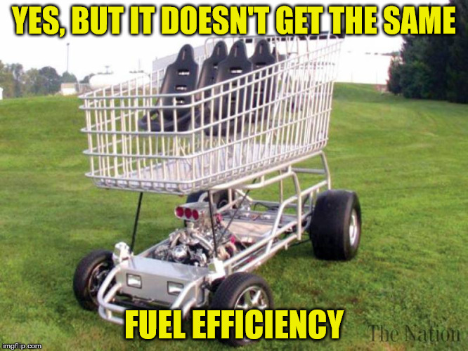 YES, BUT IT DOESN'T GET THE SAME FUEL EFFICIENCY | made w/ Imgflip meme maker