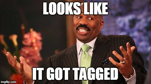 Steve Harvey Meme | LOOKS LIKE IT GOT TAGGED | image tagged in memes,steve harvey | made w/ Imgflip meme maker
