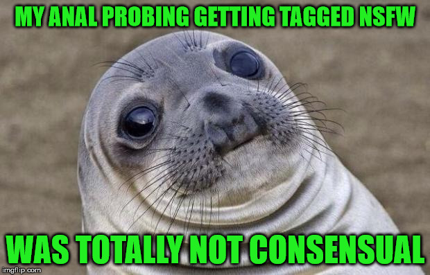 Awkward Moment Sealion Meme | MY ANAL PROBING GETTING TAGGED NSFW WAS TOTALLY NOT CONSENSUAL | image tagged in memes,awkward moment sealion | made w/ Imgflip meme maker