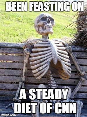 Waiting Skeleton Meme | BEEN FEASTING ON A STEADY DIET OF CNN | image tagged in memes,waiting skeleton | made w/ Imgflip meme maker