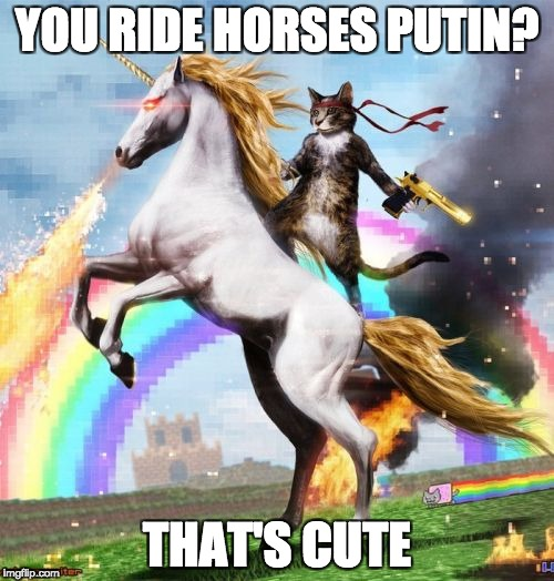 Welcome To The Internets Meme | YOU RIDE HORSES PUTIN? THAT'S CUTE | image tagged in memes,welcome to the internets | made w/ Imgflip meme maker