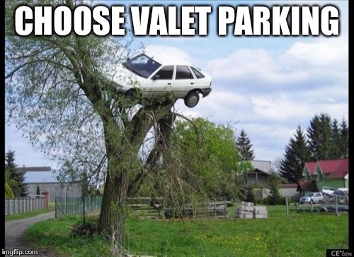 Secure Parking Meme | CHOOSE VALET PARKING | image tagged in memes,secure parking | made w/ Imgflip meme maker
