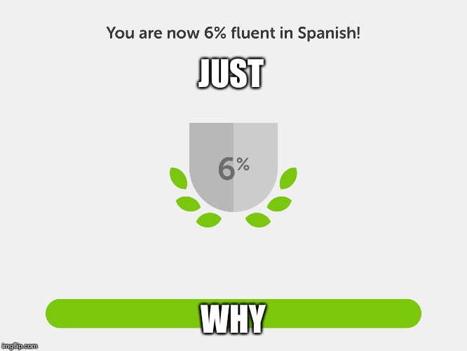 Six percent fluent in Spanish!!! | JUST WHY | image tagged in spanish,why,just why | made w/ Imgflip meme maker