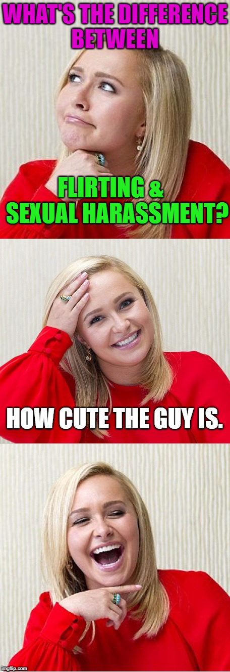 Just admit it women. Just admit it! :P | WHAT'S THE DIFFERENCE BETWEEN FLIRTING &   SEXUAL HARASSMENT? HOW CUTE THE GUY IS. | image tagged in memes,politics,political meme,political,bad pun hayden panettiere,bad pun hayden 2 | made w/ Imgflip meme maker