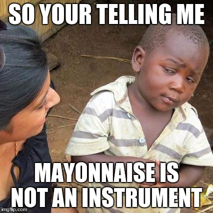 Third World Skeptical Kid Meme | SO YOUR TELLING ME MAYONNAISE IS NOT AN INSTRUMENT | image tagged in memes,third world skeptical kid | made w/ Imgflip meme maker