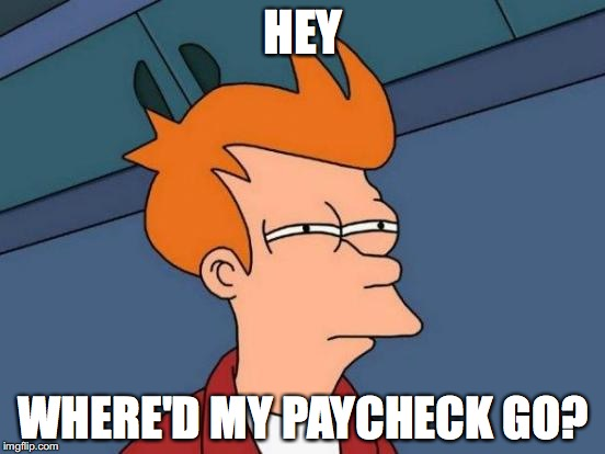 Futurama Fry Meme | HEY WHERE'D MY PAYCHECK GO? | image tagged in memes,futurama fry | made w/ Imgflip meme maker
