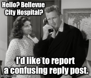 Hello? Bellevue City Hospital? I'd like to report a confusing reply post. | made w/ Imgflip meme maker