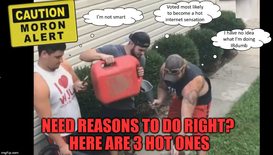 Three Soon to Be Hotties | NEED REASONS TO DO RIGHT? HERE ARE 3 HOT ONES | image tagged in 3 reasons,about to get real in,bringing the heat,kill it with fire,getting fired up,sharpest spoons in the drawer | made w/ Imgflip meme maker