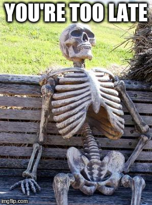 Waiting Skeleton Meme | YOU'RE TOO LATE | image tagged in memes,waiting skeleton | made w/ Imgflip meme maker