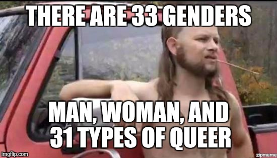 almost politically correct redneck | THERE ARE 33 GENDERS MAN, WOMAN, AND 31 TYPES OF QUEER | image tagged in almost politically correct redneck,memes,gender | made w/ Imgflip meme maker