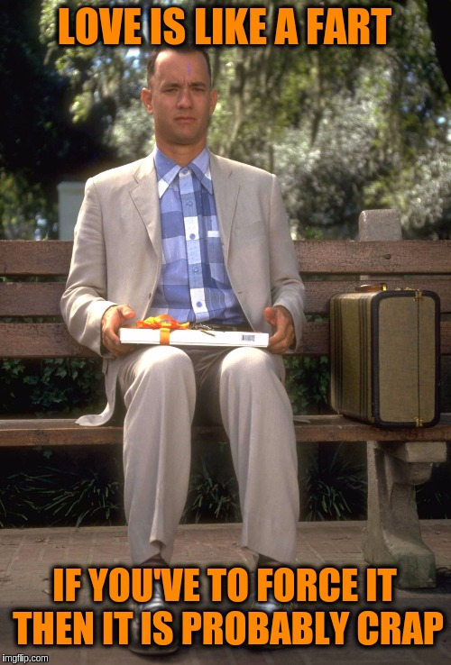 Forrest Gump | LOVE IS LIKE A FART IF YOU'VE TO FORCE IT THEN IT IS PROBABLY CRAP | image tagged in forrest gump,memes,funny,love,toilet humor,farts | made w/ Imgflip meme maker