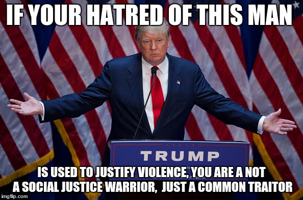 Donald Trump | IF YOUR HATRED OF THIS MAN IS USED TO JUSTIFY VIOLENCE, YOU ARE A NOT A SOCIAL JUSTICE WARRIOR,  JUST A COMMON TRAITOR | image tagged in donald trump | made w/ Imgflip meme maker