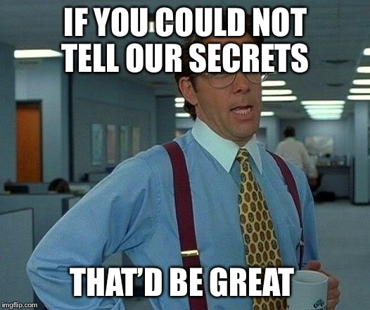 That Would Be Great Meme | IF YOU COULD NOT TELL OUR SECRETS THAT'D BE GREAT | image tagged in memes,that would be great | made w/ Imgflip meme maker