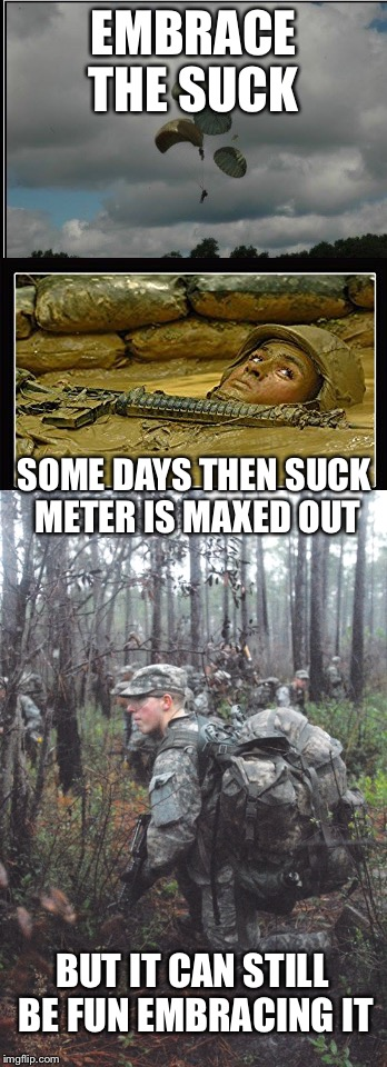 Embrace the suck meter | EMBRACE THE SUCK SOME DAYS THEN SUCK METER IS MAXED OUT BUT IT CAN STILL BE FUN EMBRACING IT | image tagged in suck meter,embrace,dirty,cold,muddy | made w/ Imgflip meme maker