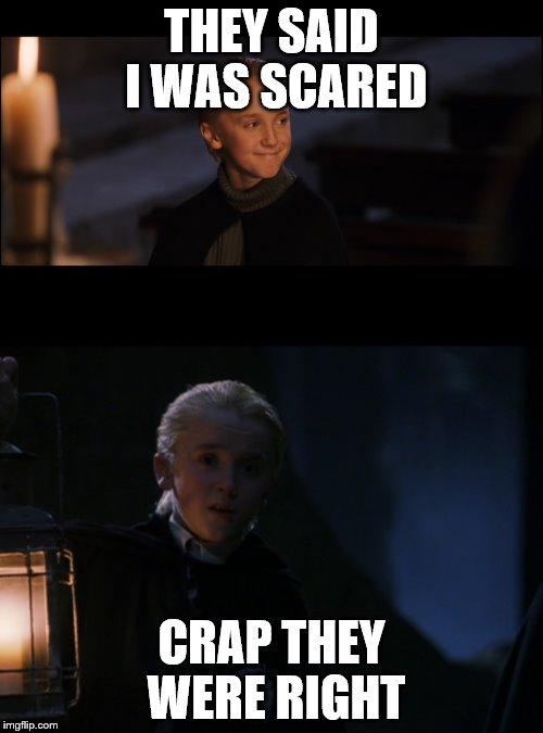 CRAP | THEY SAID I WAS SCARED CRAP THEY WERE RIGHT | image tagged in draco malfoy | made w/ Imgflip meme maker