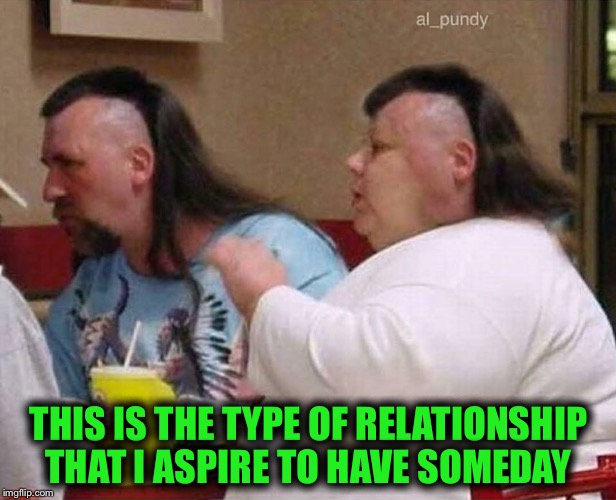 Who am I kidding; I won't even wear matching T-shirts :) | THIS IS THE TYPE OF RELATIONSHIP THAT I ASPIRE TO HAVE SOMEDAY | image tagged in funny haircut,relationship,bad haircut,relationship goals | made w/ Imgflip meme maker