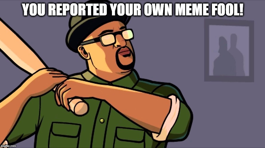 YOU REPORTED YOUR OWN MEME FOOL! | image tagged in big smoke,gta,fool,memes,ironic,censorship | made w/ Imgflip meme maker