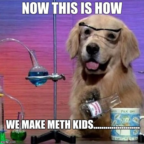 I Have No Idea What I Am Doing Dog | NOW THIS IS HOW WE MAKE METH KIDS....................... | image tagged in memes,i have no idea what i am doing dog | made w/ Imgflip meme maker